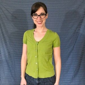 Ann Taylor Green Short Sleeved Cardigan, size S